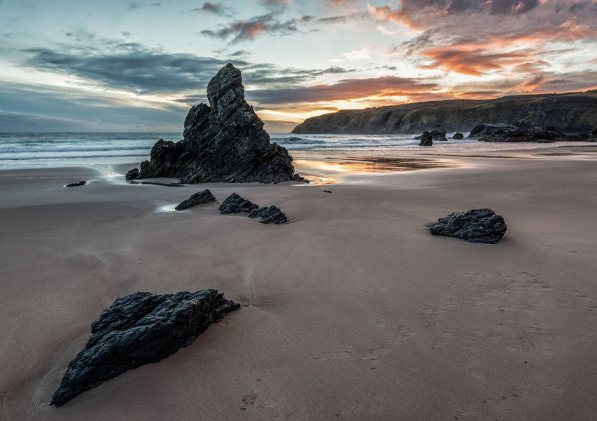 Sunset Durness Beach Scotland Sunset_collection Beach Beauty In Nature Cloud - Sky Day Durness Horizon Over Water Nature No People Outdoors Rock - Object Sand Scenics Sea Sky Sunset Tranquil Scene Tranquility Water Wave