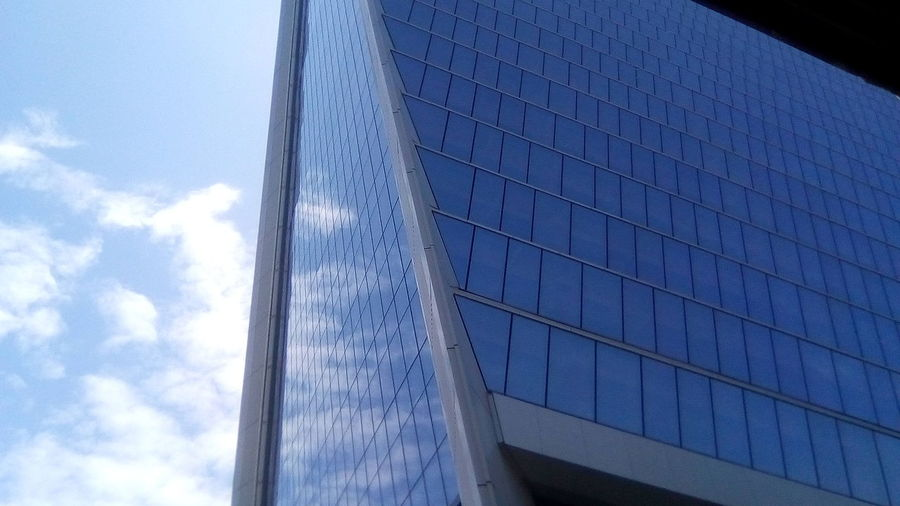 Architecture Sky Day Built Structure Low Angle View No People Skyscraper Blue Corporate Business Outdoors Modern Building Exterior City Close-up AI Now