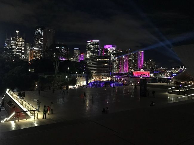 Opera house, Vivid Illuminated Night City Architecture Built Structure Building Exterior Building City Life Cityscape High Angle View