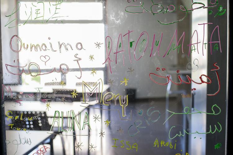Full frame shot of graffiti on glass wall