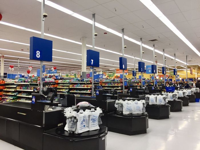 Walmart supermarket shopping store super store American cashier checkout