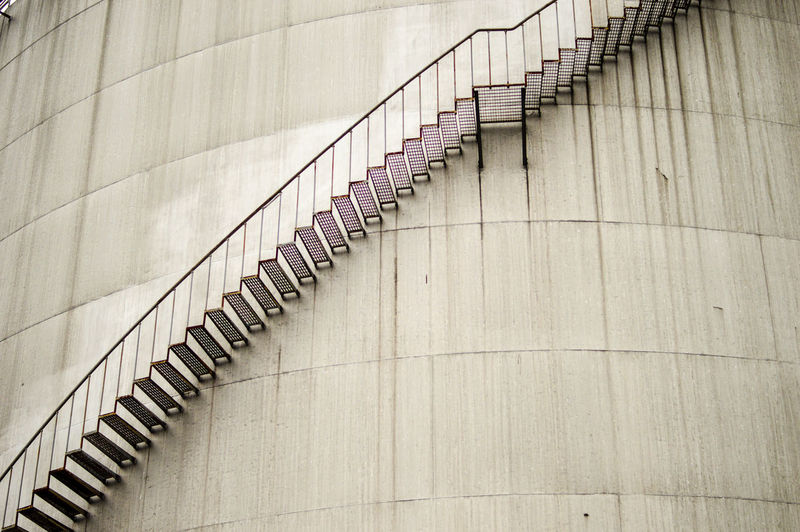 Low angle view of steps on silo