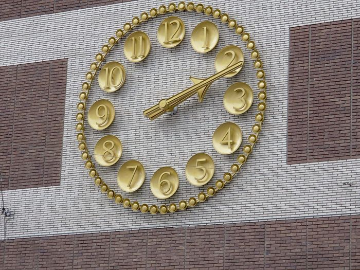 Golden Clock Close-up Day Golden Times No People Outdoors Public Ten Past Two Time