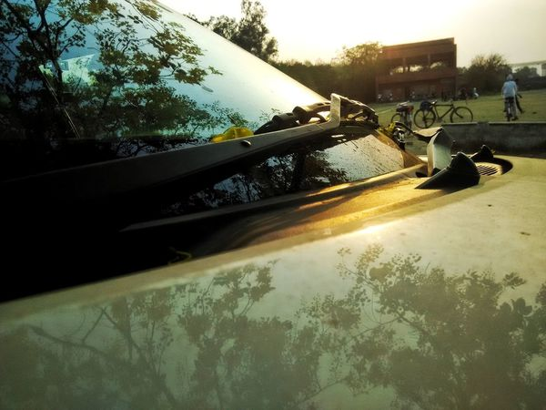 Day Tree Outdoors No People Sky Nature Hdr Photography Land Vehicle Mode Of Transport White Color Car Close-up Summer Windshield Car Wiper Summer Time