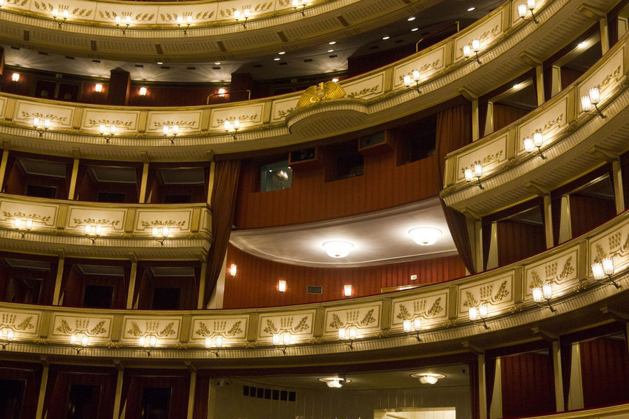 Vienna Opera House interiors Historical Building Interiors Opéra Theater Vienna Architecture Audience Auditorium Balcony Classical Music Historic Indoors  Musical Theater  No People Opera House Operahouse Public Places Royal Staatsoper Stall Stalls Theatre Wien Wiener