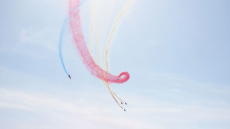 Flying Airshow Teamwork Low Angle View Airplane Vapor Trail Military Airplane No People Performance Fighter Plane Popular Photos Skill  On The Move Acrobatic Activity Scenics Taking Photos EyeEm Team