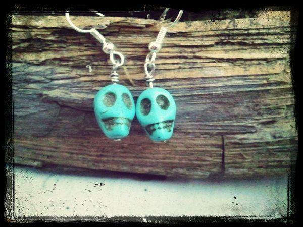 Handmade Tibetan skull bead earrings available at lilac and lemon on etsy https://www.etsy.com/listing/179677411/skull-earrings-teal-skull-earrings Boho Jewelry Bohemian Handmade