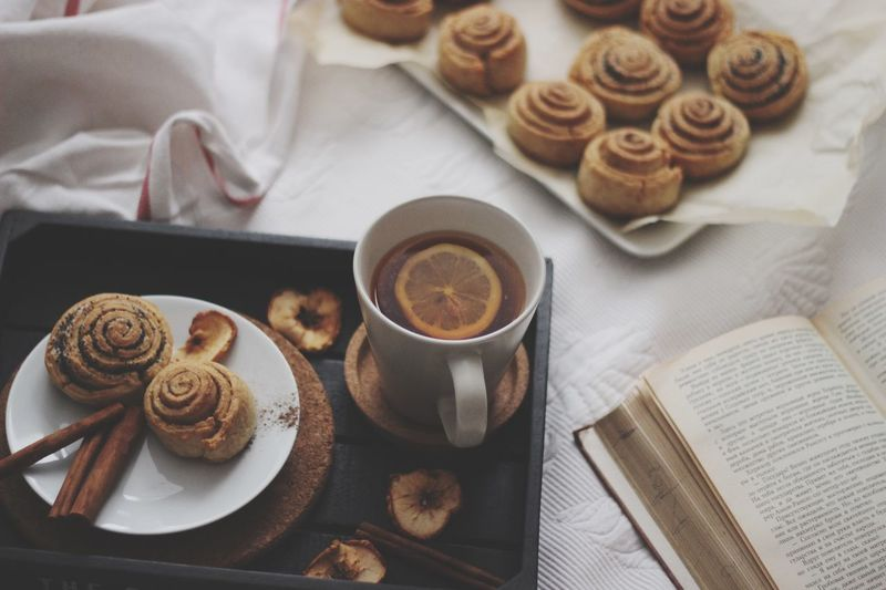 Baked Food And Drink Drink Still Life Coffee - Drink High Angle View Indoors  Sweet Food Coffee Cup Table Coffee Cup Refreshment Mug Freshness No People Food Ready-to-eat Sweet Cookie