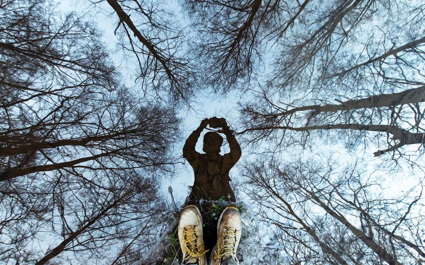 Low angle view of man statue against bare trees