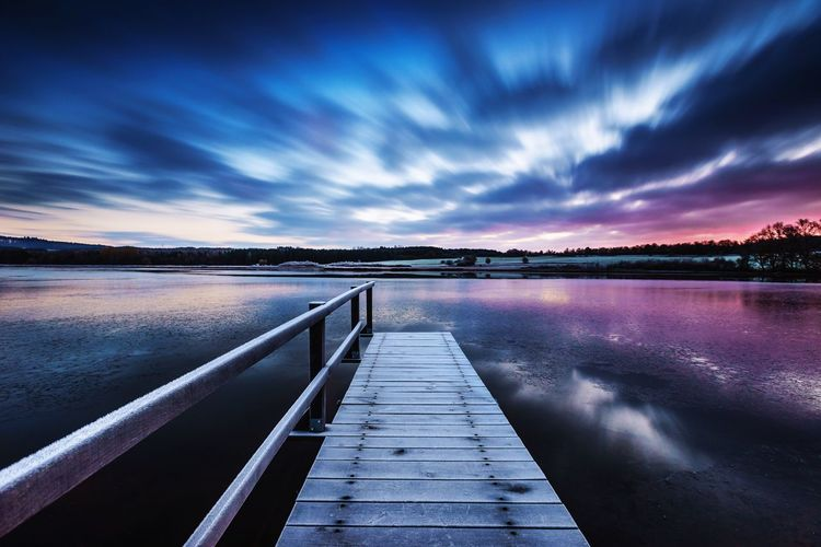 Lake Water Lake Pier Cloud - Sky Landscape Scenics Nature Sky Blue Germany Morning Light Long Exposure Sunlight Vulkaneifel Wasser The Week On EyeEm Sonnenaufgang Sunrise Www.alexander-schitschka.de Blue Hour Lake View