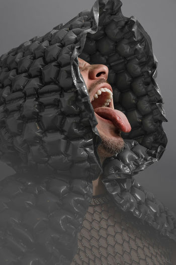 Expression Grey Gray Bubble Wrap Men Portrait Close-up Teeth Mouth Human Lips Human Tongue Protruding Sticking Out Tongue Human Mouth