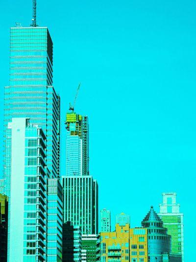 Modern buildings against clear sky