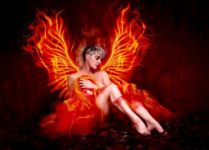 Leafs Phoenix Tutu Tutu Wings One Person Women Orange Color Night Arts Culture And Entertainment Fire Young Adult Celebration Adult Motion Glowing Burning Fire - Natural Phenomenon Front View Red Young Women Females Portrait Beautiful Woman Dark