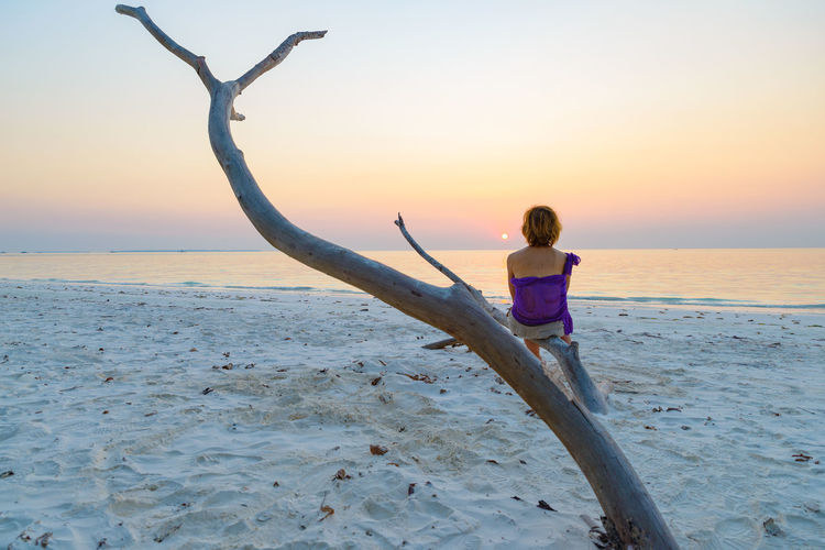 Rear view of woman on beach during sunset