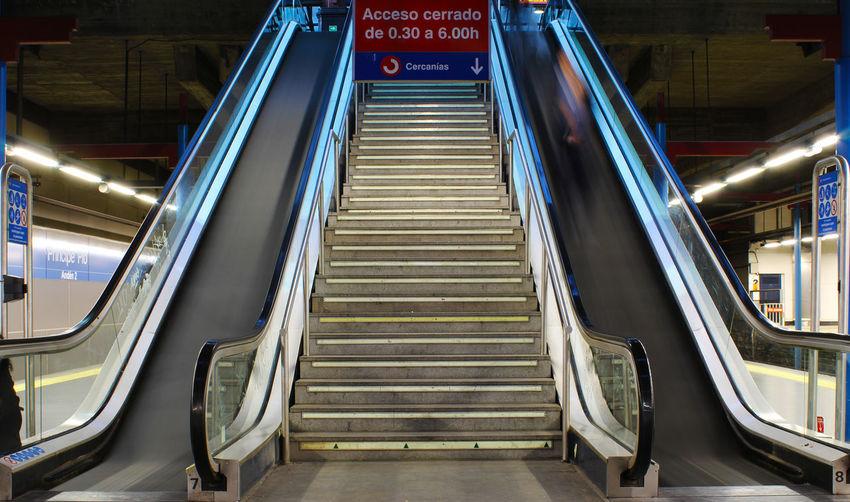 Sign board over escalator at subway station