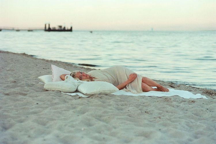 Analog Beach Casual Clothing Day Focus On Foreground Getting Away From It All Leisure Activity Lifestyles Lying Down Lying On Back Nature Person Relaxation Resting Scenics Sea Selective Focus Sleeping Tranquil Scene Tranquility Vacations Water Young Adult Young Women