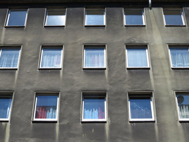 Architecture Building Building Exterior Built Structure City Citylife Closed Window  Curtains Development District Dortmund Full Frame Ghetto In A Row Neighborhood Neighbors Nordstadt Pane Quarter  Reflections Repetition Window Window Reflections Windowpane Windows