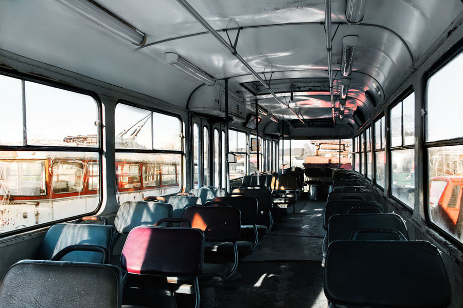 90s Retro Abandoned Bus Day Empty Old Public Transportation Seat Seats Transportation Vehicle Interior Vehicle Seat Warm Window