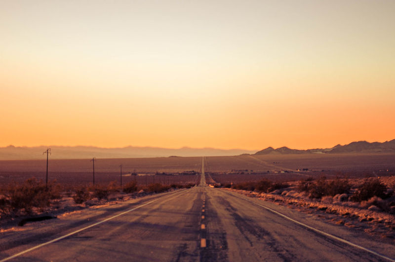 Driving into the sunset on route 66