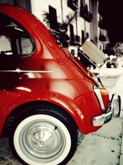 Fiat500vintage Old Italian Car Fiatcinquecento Vintagecar Vintagestyle HuaweiP9 Huaweiphotography Red Red Color Luggage, Travel  Nightphotography Nightshot
