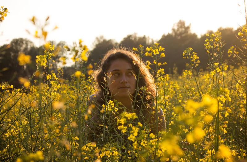 Resist Flower Nature Adult Sunset People Portrait Yellow Summer Retreat Myself Sun Sunshine Grow