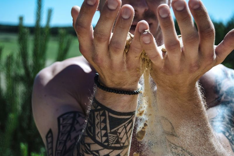 Lifestyle Sand In Hands Strew From My Point Of View By Ivan Maximov Our Best Pics Exceptional Photographs Great Outdoors Relaxing Tattoo Tatto Life Freshness Colors Of Summer Eyeem Photo Beauty In Nature Summer Views Tranquility Outdoors Sands Emotions Meditation Time Human Body Part Day Summer This Is Masculinity