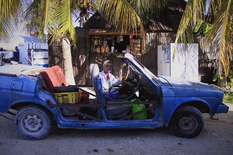 Yucatan Mexico Celestun Car Oldman Beach Paradise