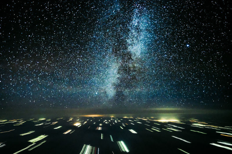 Milkiway captured out of an airliner jet cockpit Night Sky Transportation Star - Space Galaxy Road Space Astronomy Illuminated Scenics - Nature Nature No People Star Field Infinity Star Direction Beauty In Nature Milky Way Outdoors The Way Forward Pilotperspective Inflight Flying Nightflight Nightphotography