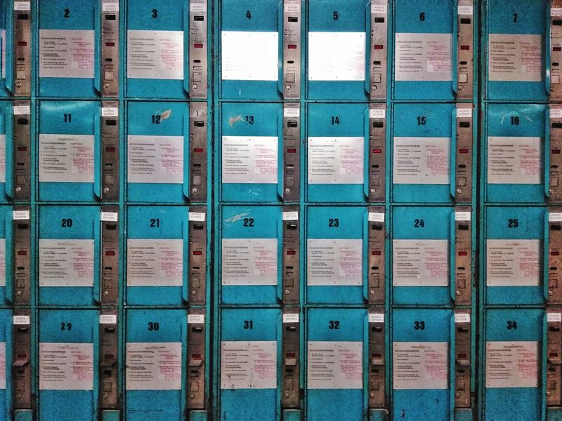 Close-up of some Lockers. Lock Boxes Subway Square Backgrounds Textures Protection Security Safe Locker Locks Deposit Box Boxes Blue Save Keep  Day Close-up