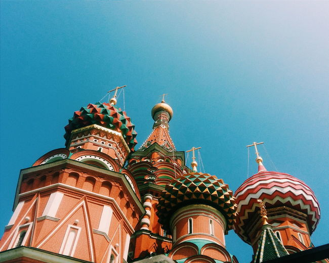 Low angle view of st basil cathedral at moscow kremlin against clear sky
