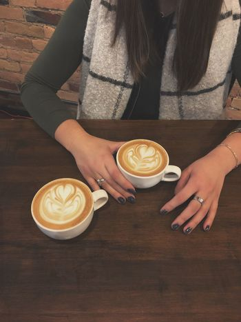 Dessert oasis lattes Coffee - Drink Drink Cappuccino Coffee Cup Latte Cafe Froth Art Frothy Drink Women Table Indoors  Close-up Real People One Person Refreshment First Eyeem Photo