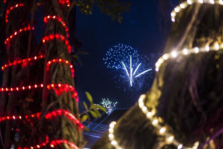 Firework exploding against sky at night