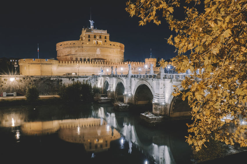 Castle Castle Sant' Angelo Ancient Arch Architecture Bridge - Man Made Structure Building Exterior Built Structure History Illuminated Nature Night No People Outdoors Reflection Sky Travel Destinations Tree Water
