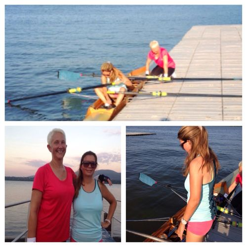 """WHAT AN ADVENTURE!!! I would like to thank my rowing BFF, Mrs. Mills for pushing me beyond my comfort zone (okay way beyond my comfort zone) as always. Tonight, we rowed to Cornwall landing, about 9000 m round-trip or 5.6 miles -- in the therapeutic double. It was a very strong current on the way out and very deceptive, we thought we would have the current with us on the way back. In fact, we were in a weird channel and we rowed against the current both ways. It was rough and whitecappy out there; the water was coming right over our crew shell and coach Fernandez was having us do hard 20s to get us out of the scary areas. We discussed our flipping strategy (""""OK, at least one of us has to not hit their head against the boat and remain conscious"""") and for a good portion of the trip we were convinced that we were going in the Hudson. We rowed our little hearts out and really --!what better adventure could two 50-year-old moms ask for on a Tuesday evening? Thanks also to coach Fernandez for getting us through it! ??? Rowing Love To Row Tadaa Community"""