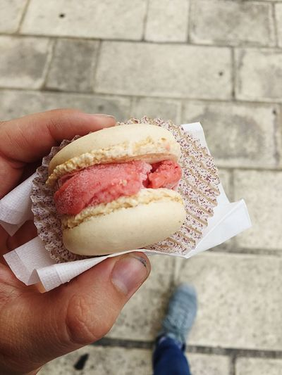 A macron filled with strawberry ice cream 😋 Dirty Fingers Summer Dessert Ice Cream Human Hand Hand Human Body Part Holding Food And Drink One Person Food Sweet Food Freshness Real People Personal Perspective Unhealthy Eating Sweet Unrecognizable Person Close-up Lifestyles Ready-to-eat Day