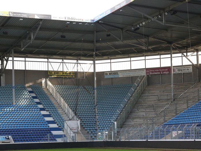 MDCC-Arena in Magdeburg (Sachsen-Anhalt) Spielstätte des FC Magdeburg FCM FC Magdeburg  Magdeburg Magdeburg MDCC-Arena Stadion Arena Fußballstadion Fussball Soccer Sport Sports Treppen Stairs Stufen Stages Sachsen-Anhalt Saxony-Anhalt Ball Sports Rasen Race
