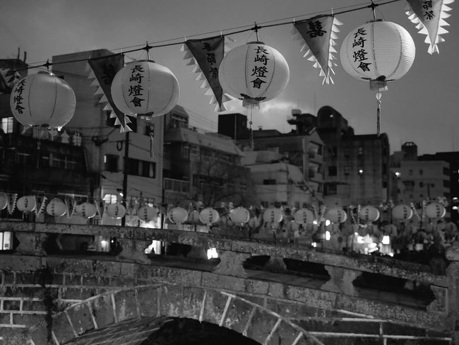 LUMIX GX8 Monochrome test upload : Nearly Megane bashi bridge( 眼鏡橋 ) Nagasaki City Japan Monochrome Scenery Nagasaki Scapes Panasonic GX8 LEICA D SUMMILUX 25mm 50mm F/1.4 Black And White Monochrome Nagasaki JAPAN Lighting Equipment Hanging Architecture In A Row Built Structure Illuminated Lantern