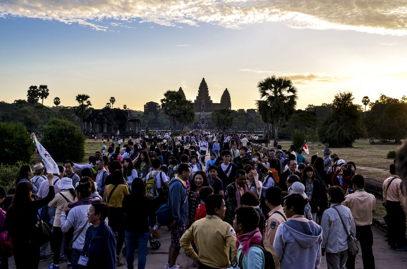 Welcome dawn Adult Angkor Wat Angkor Wat, Cambodia Blue Sky Large Group Of People Outdoors People Sky Sunrise Travel Destinations Welcome Dawn