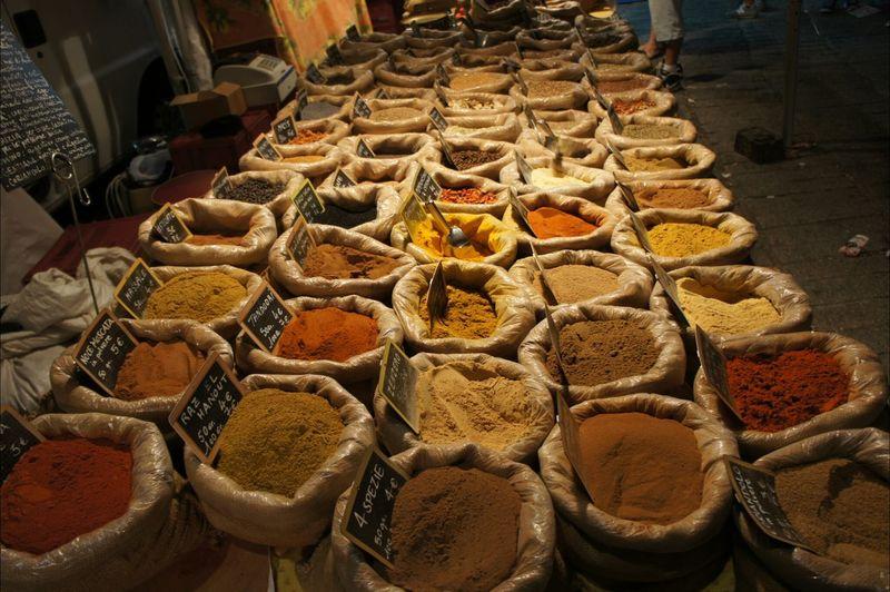 Sacks Of Ground Spices In Market