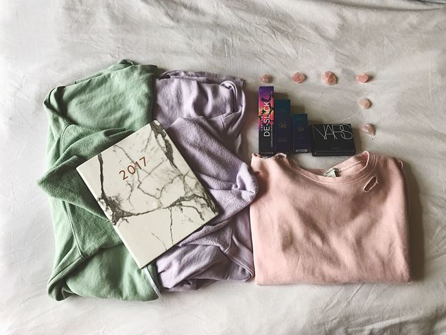 Happy Valentine's Day to me, from me. Fashion Pastel Colors Sweatshirt Makeup Tarte NARS Urban Decay Forever21 2017 Planner Crystals Rose Quartz No People Pink Lavender Green