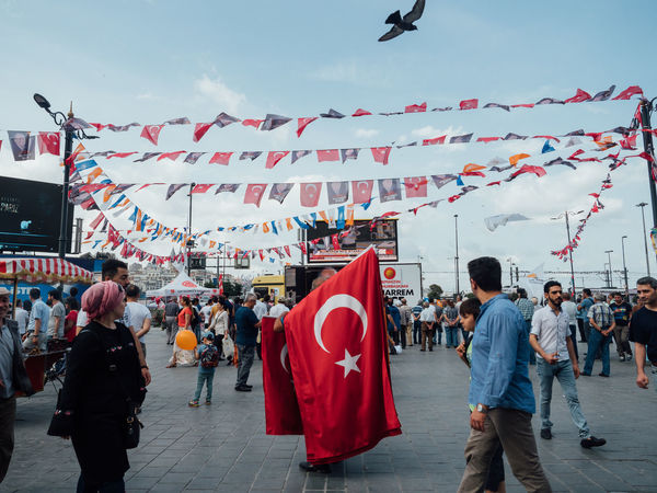 Country Istanbul Patriotic Patriotism Politics Spice Bazaar Square Travel Turkey Turkey Flag City Crowd Decoration Election Election Day Festival Flag Group Of People Lifestyles National Elections National Flag Politics And Government Standing Alone Street Supporter
