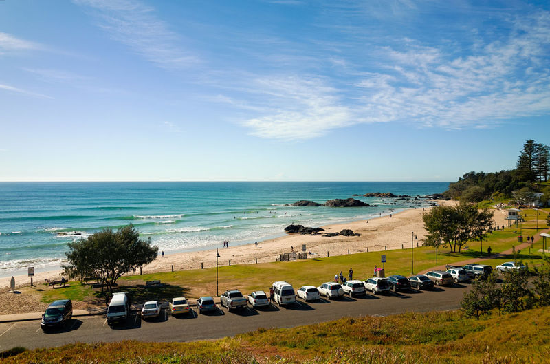 Sea Beach Horizon Over Water Sky Sand Cloud - Sky Water Nature Summer Outdoors Vacations Day Beauty In Nature Car Park Town Beach AustraliaHoliday Travel Sunlight High Angle View Port Macquarie