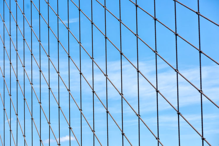 Not the typical image of the Brooklyn bridge Architectural Feature Architecture Backgrounds Blue Cloud - Sky Day Full Frame Geometric Shape Modern Office Building Outdoors Pattern Repetition Sky