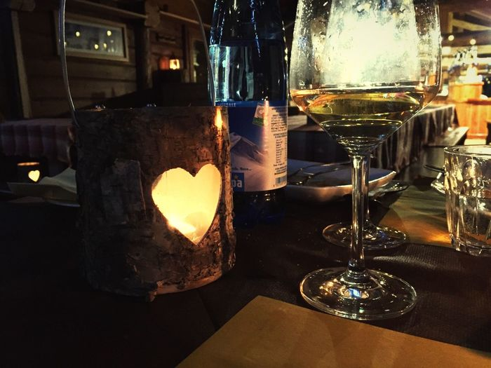 Wine Moments Wine Wine Tasting Wineglass Prosecco White Table Dinner Dinner Time Dinnertime Love Lovely Romantic Romantic Dinner Close-up Low Angle View Traveling Alps Togetherness Lovelovelove Lovers Mountain Candle Heart Candlelight