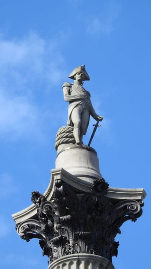 Statue Sculpture Sky Low Angle View History Architecture City No People Close-up Blue LONDON❤ Taking Photos Eye4photography  That's Me Eyemphotography From My Point Of View LordNelson Trafalgarsquare Tourist