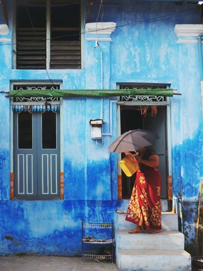 Ready for a sunny day. Colour Of Life Ready To Go Sunny Day Umbrella Blue House Myanmar Street Fashion Mwalamyine Careful Walking Stairs