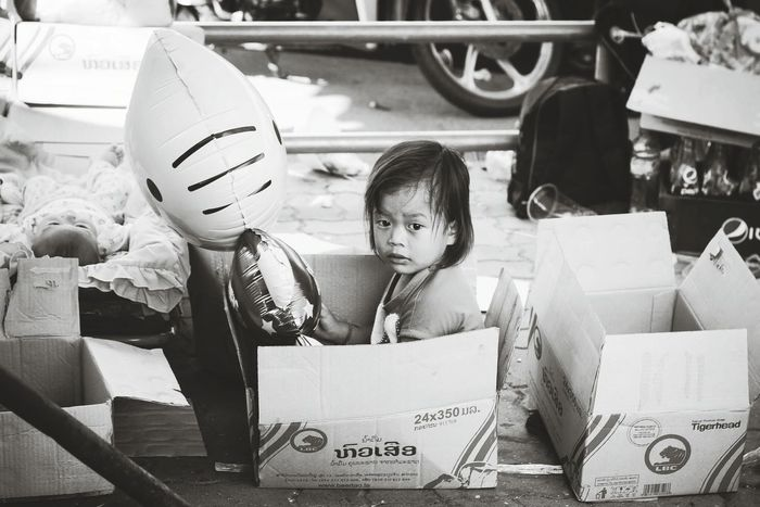 Kid Sailing in Box - Vientiane, Laos