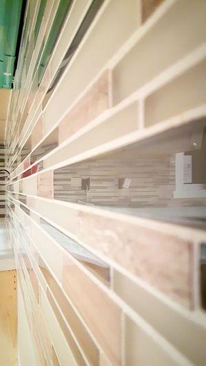 Backsplash Grout Tiled Wall Kitchen Reflection