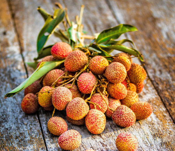 High angle view of lychees on table