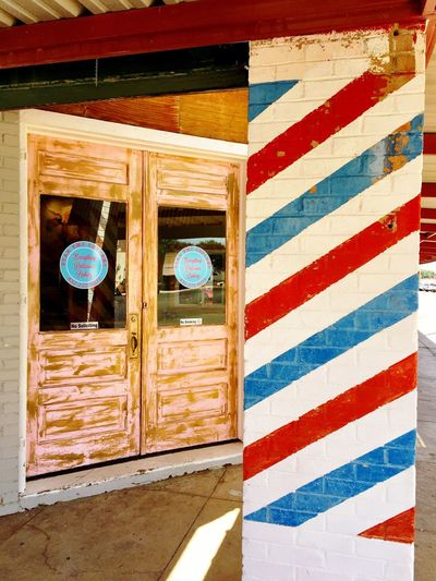 Architecture Built Structure No People Day Outdoors Building Exterior Barber Pole Wooden Doors Main Street USA Texas Texas Roadside